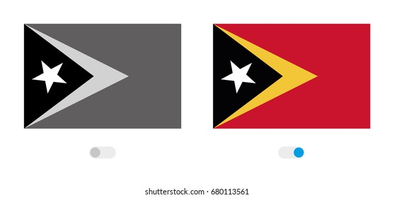 An Active and Inactive Illustrated Country Flag of  East Timor