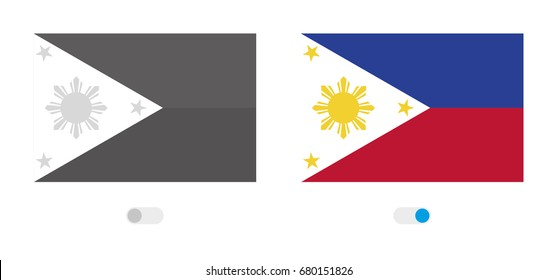 An Active and Inactive Illustrated Country Flag of  Philippines