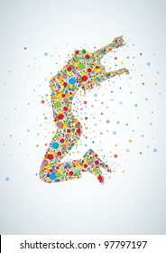Active jumping girl with colorful circles. Vector illustration. Elements are layered separately in vector file.