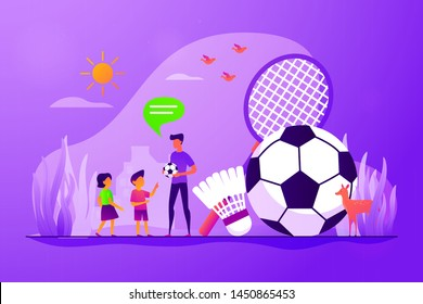 Active kids games. Family outdoor activities. Children playing badminton, football. Sport summer camp, multi sports camp, active summer time concept. Vector isolated concept creative illustration