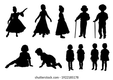 active kids silhouettes - vector set