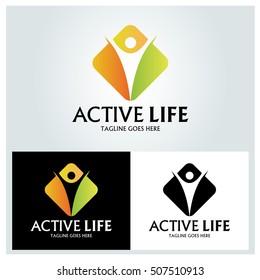 Active Life logo design template ,Life care logo design concept ,Vector illustration