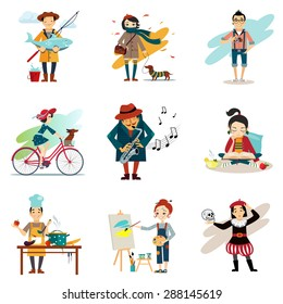 Active lifestyle, Hobbies, healthy lifestyle icons set isolated vector illustration