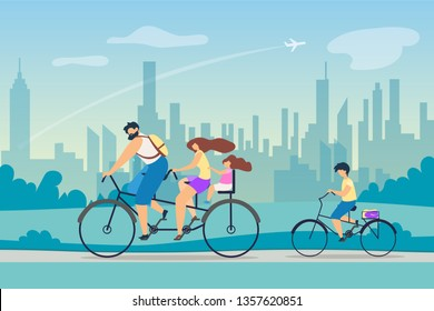 Active Lifestyle Positive Effect Health. Young Family Riding Bicycles. Parents Took Children Weekend Country. Fresh Air on Lungs. Background Big Bustling City Ride Park Vector Flat Illustration.