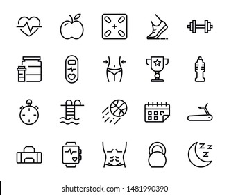 Active lifestyle vector line icons set. Collection of 20 symbol of apple, medal, basketball, waterpool and other. Group of pixel perfect pictogram for web design.