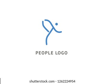 Active man icon. Vector flat modern logotype design speech bubble and people. Dance studio logo design vector template. Abstract human figure logotype. Sport, yoga ,fitness, gym, charging