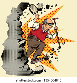 active old man pensioner breaks the wall of stereotypess. Moving forward, personal development. Pop art retro vector illustration vintage kitsch