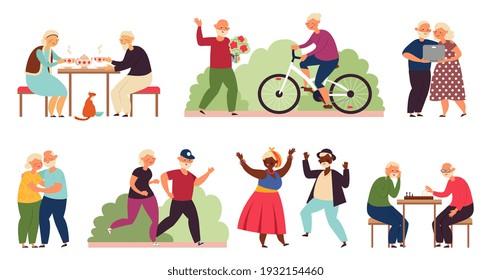 Active old people. Senior group activity, diverse elderly couple party. Fun retirement, cartoon dancing grandparents decent vector characters