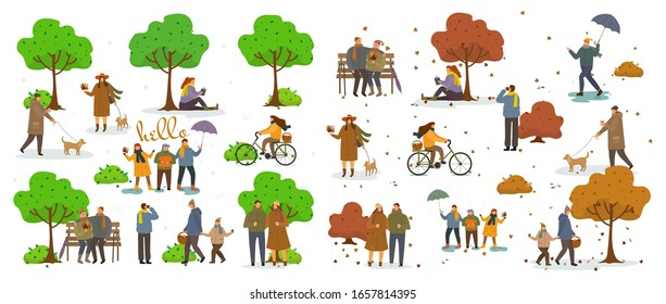 Active pastime on nature at park. Various people at spring and autumn park performing leisure outdoor activities. Walking with dog. Cartoon vector illustration. Relaxing in nature together, community
