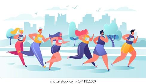 Active people characters running marathon distance. Healthy lifestyle concept, summer outdoor. Athlete, sprinter-sportsmen and sportswomen run marathon, sprint race. Flat, cartoon, trendy, vector EPS.