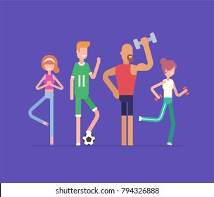 Active people doing sport - modern flat design style isolated illustration on blue background. Smiling cartoon characters enjoying football, yoga, dumbbell exercises, fitness. Healthy lifestyle