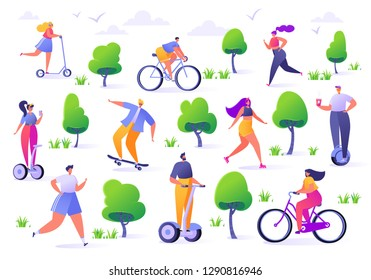 Active people in the park. Summer outdoor. Man and woman characters  running, riding bicycle, skateboarding, roller skates, fitness. Flat design characters  with hover boards.