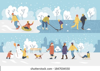 Active people in the winter park. Happy family walking and ride child on the sled. People in the park, children playing in the park, making snowman, skating, playing hockey, walking dog cartoon vector