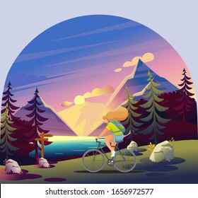 Active Recreation in the Forest. Girl Uses the Route for a Bicycle Ride. Beautiful View Of The Forest, Lake, Sunset, Mountains. Flat 2D Character
