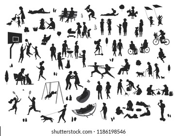 active and relaxing people in the city park, leisure activities scenes silhouettes set, men women couples children play, make sports, biking, walk with dog, eat, grill, read, chill picnic
