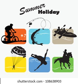 Active rest, summer holiday, set icon, fishing, bicycler, canoe, boating, parachutist, swimmer, equestrian sport, vector illustration