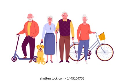 Active senior citizens. Vector illustration of smiling adult men and women with bicycle, electric scooter, dog and nordic walking sticks. Isolated on white.