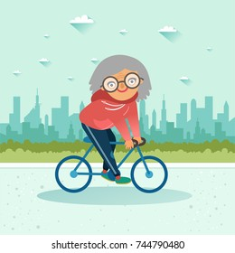 Active senior. Old age retired woman. Elderly woman riding a bicycle on city background. Elderly people healthy lifestyle. Vector colorful illustration