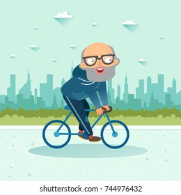 Active senior. Old age retired man. Elderly man riding a bicycle on city background. Elderly people healthy lifestyle. Vector colorful illustration