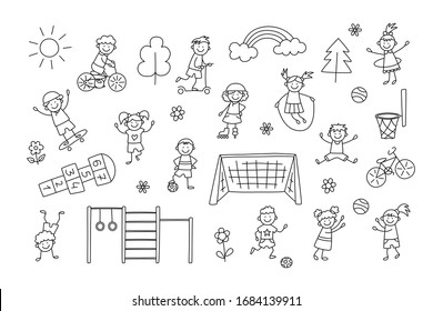 Active sport children. Funny small kids play, run and jump. Set of elements in childish doodle style. Hand drawn vector illustration
