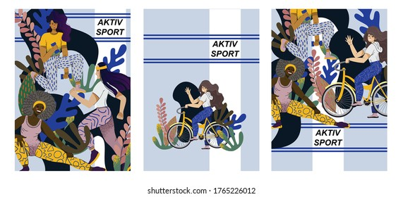 Active sports and fitness. Cycling, dumbbell exercises and jogging. Neutral color scheme and flat simple design.