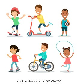 Active sports teenagers children flat web infographic concept vector icon set. jumping rope, roller skating, soccer, skateboarding, kick scooter, cycling. Creative kids people collection.