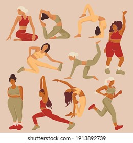 Active sporty girls vector set. Do yoga at home, stay at home and exercise. Women'S yoga. Vector Illustration Of A Beautiful Cartoon