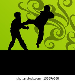 Active tae kwon do martial arts fighters combat fighting and kicking sport silhouettes illustration background vector