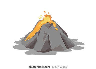 Active volcano erupting and ejecting lava fountain from crater isolated on white background. Volcanic eruption, seismic activity, natural disaster. or catastrophe. Vector illustration in flat style.