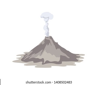 Active volcano erupting and emitting smoke cloud from crater isolated on white background. Spectacular volcanic eruption. Natural disaster or hazard. Colored vector illustration in flat cartoon style.