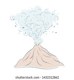 Active volcano erupting lava fountain from crater with many clouds of smoke. Volcanic eruption, seismic activity, natural disaster or catastrophe. Line art style vector illustration.