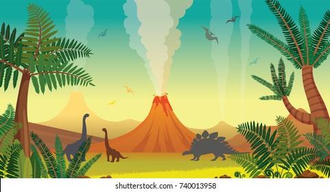 Aktive Vulkane mit Lava, grüne Farne und Bäume, Silhouette von Dinosauriern am blauen Himmel. Prähistorische Illustration mit ausgestorbenen Tieren. Vektorlandschaft.
