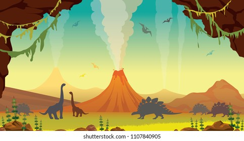 Active volcanoes with lava, green plants, cave and silhouette of dinosaurs on a blue sky. Prehistoric illustration with extinct animals. Vector nature landscape.