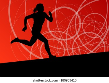 Active woman sport athletics running silhouettes illustration abstract background vector