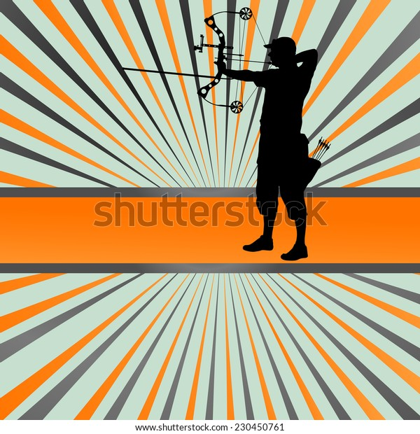 Active young archery sport silhouettes abstract background vector