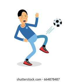 Active young boy kicking a soccer ball cartoon character, kids physical activities vector Illustration