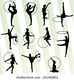 Active young girl gymnast silhouette in acrobatics spinning hoop abstract background illustration vector