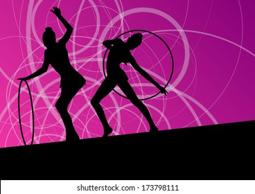 Active young girls calisthenics sport gymnasts silhouettes in spinning rings abstract background illustration vector