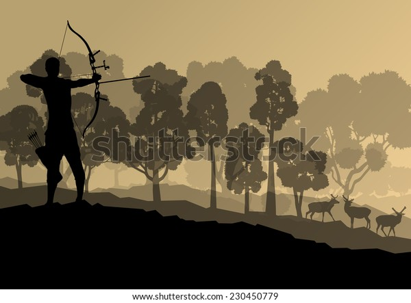 Active young man sport hunting silhouettes background vector in nature