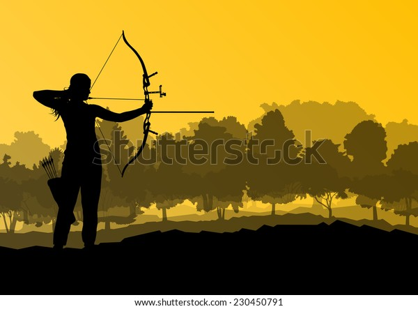 Active young man sport silhouettes abstract background vector in nature
