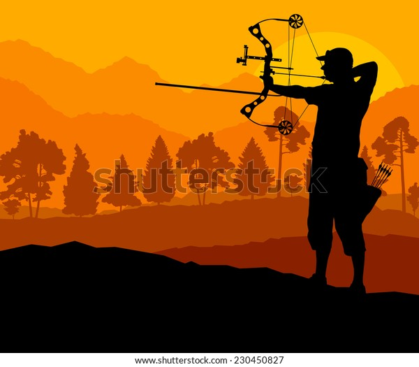 Active young man sport silhouettes background vector in nature