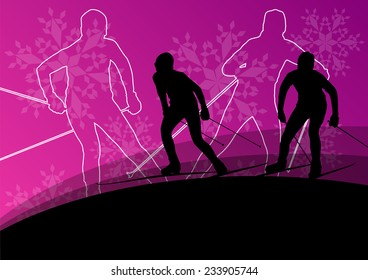 Active young men skiing sport silhouettes in winter ice and snowflake abstract background illustration vector