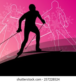 Active young men skiing sport silhouettes on winter ice and snowflake abstract background