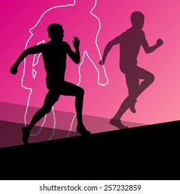 Active young men sport athletics hurdles barrier running silhouettes illustration.