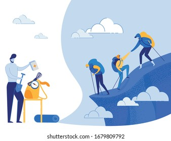 Active Young People Climbing Mountains and Packing Backpacks for Future Journey. Mountaineering, Trekking and Hiking. Outdoor Recreation, Adventures in Nature, Vacation. Flat Vector Illustration.