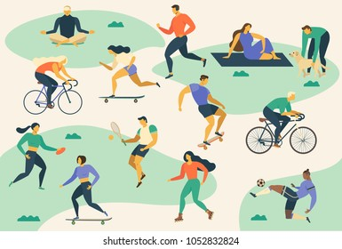Active young people. Healthy lifestyle. Roller skates, running, bicycle, run, walk, yoga. Design element colorful. Vector illustrations.