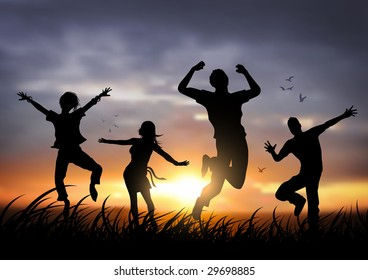 Active young people jumping against a sunset.