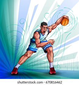 Active young player playing game of Basketball sport. Vector illustration