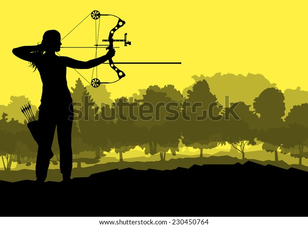 Active young woman sport silhouettes background vector in nature