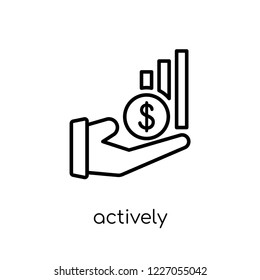 actively managed funds icon. Trendy modern flat linear vector actively managed funds icon on white background from thin line Actively managed funds collection, outline vector illustration